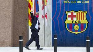 Laporta llega a las oficinas del Barça