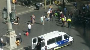 Momentos después del atentado en Las Ramblas