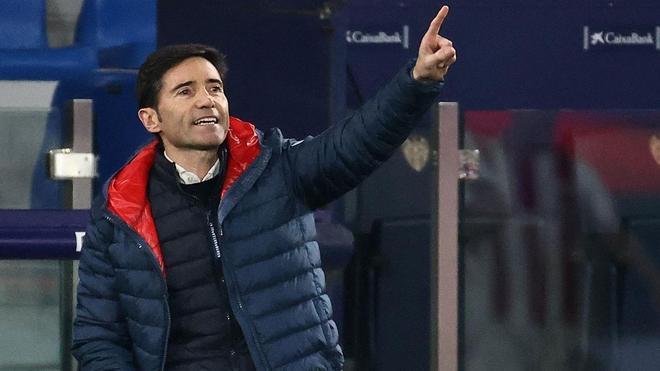 Marcelino, durante el partido ante el Levante