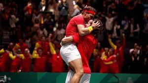 Nadal y Feliciano celebrando la clasificación para la final