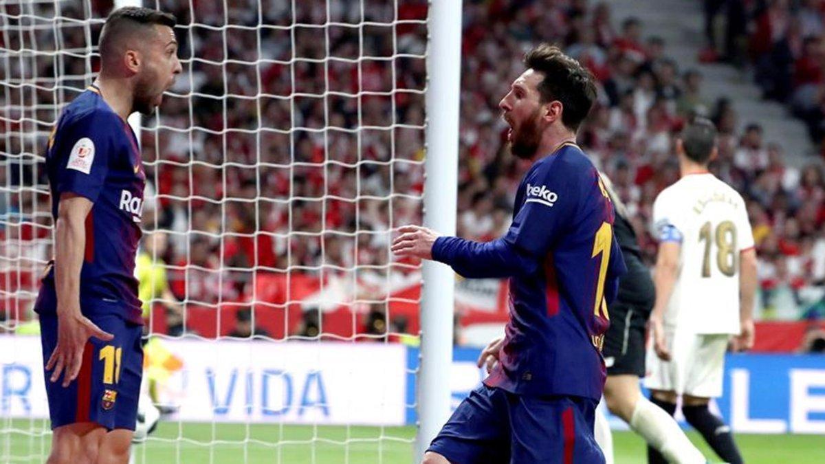 El último gol de Messi en una final de Copa. En 2018, contra el Sevilla y después de una asistencia de Jordi Alba