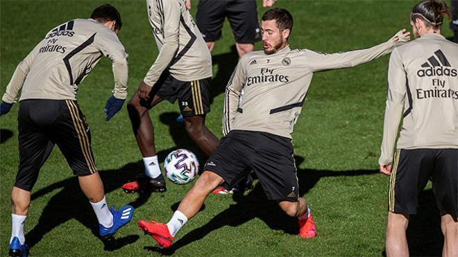 El Real Madrid entrena con un Hazard a tope