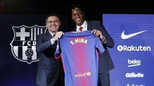Bartomeu presentó a Yerry Mina como jugador del Barça