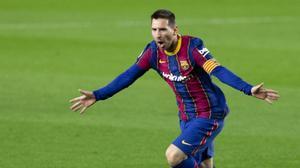 Messi celebrando su gol