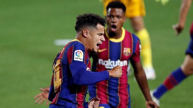 Ansu celebra un gol de Coutinho