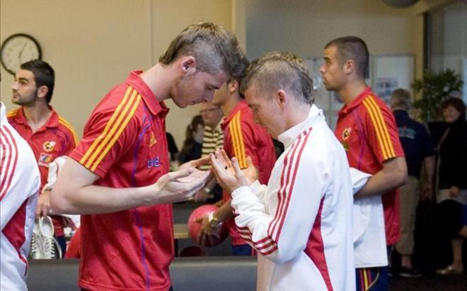 De Gea y Muniain, en una concentración de la selección española