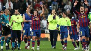 Joan Laporta disfrutó desde el palco del Santiago Bernabéu de un triunfo que fue muy festejado por los azulgranas