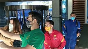 La llegada de Messi al hotel de concentración