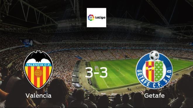 Valencia drop points against Getafe3-3 at Mestalla