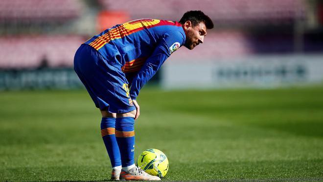 Messi, durante un partido en el Camp Nou