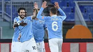 Luis Alberto celebra el primero de sus dos goles
