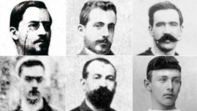 Arriba, de izquierda a derecha: Walter Wild, Bartomeu Terradas y Arthur Witty. Abajo, mismo orden: Juli Marial, Vicente Reig y Hans Gamper