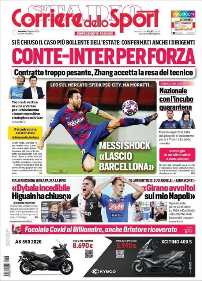 La portada del diario Il Corriere dello Sport del 26 de agosto