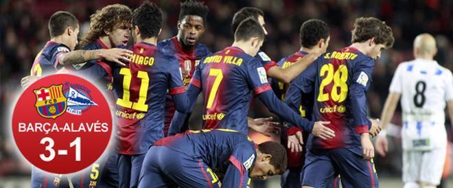 El Barça pudo celebrar un trabajado triunfo ante un combativo Alavés