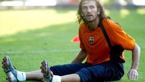 Rüstü Reçber, durante un entrenamiento con el F.C. Barcelona