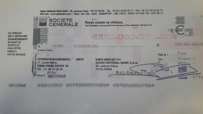 Imagen del presunto cheque de Neymar