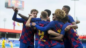 El Juvenil A del Barça, en un partido de la Youth League la temporada pasada
