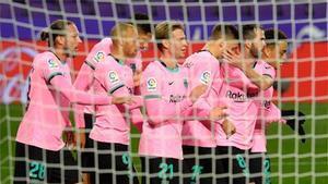 El Barça celebró tres goles en Valladolid