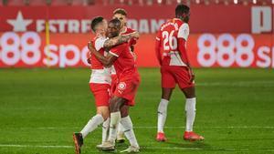 Sylla celebra su gol ante el Lugo
