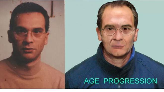 La imagen del capo mafioso Matteo Messina hace 30 años y la recreación de cómo sería actualmente