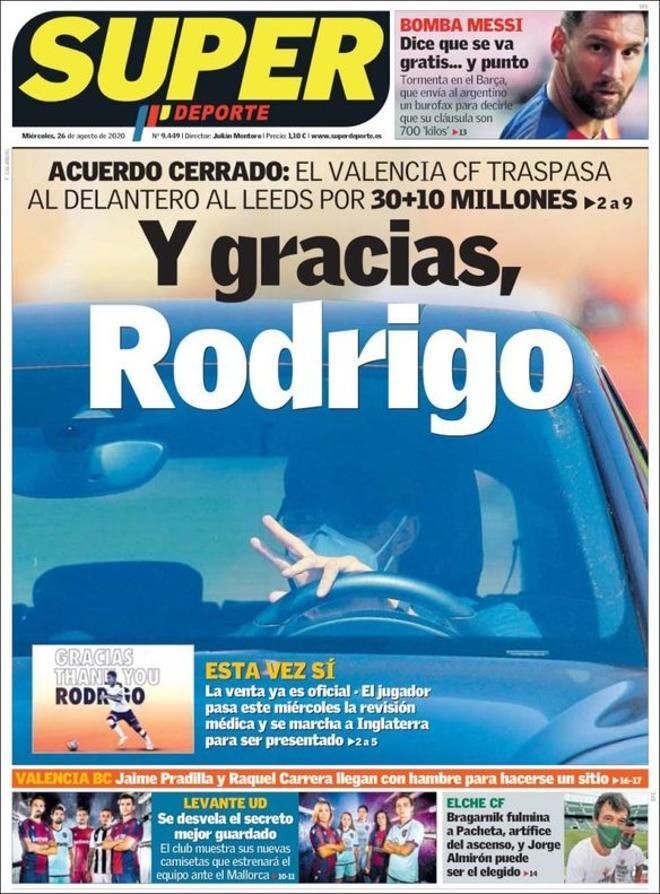 La portada del diario Superdeporte del 26 de agosto