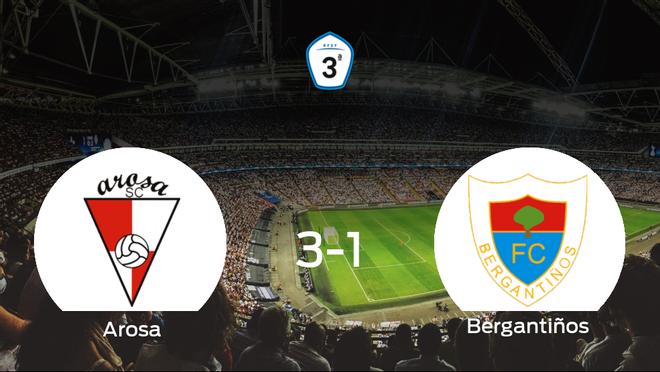 El Arosa gana 3-1 al Bergantiños y se lleva los tres puntos