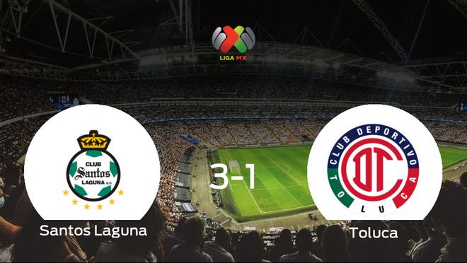 El Santos Laguna gana 3-1 en casa al Toluca