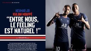 Mbappé, junto a Neymar en la revista del PSG