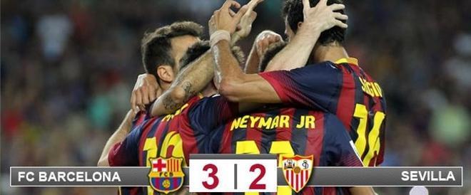 El Barça derrotó al Sevilla en el último suspiro
